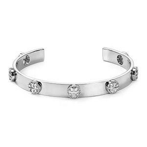 TORY BURCH • Silver Milgrain Logo Cuff Bracelet